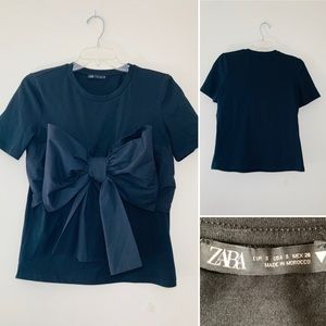 Zara black top with bow at the front. Size S